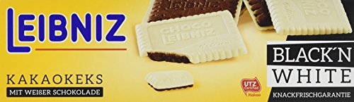 Leibniz Choco Black'n White 125 g — Kakao-Keks mit weißer Schokolade — Schokokekse in der Faltschachtel — Kakaokekse mit extra Schokolade - traditioneller Butterkeks mit 52 Zähnen