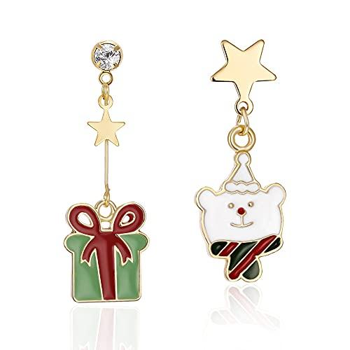 QTSUANNAI Pendientes de gota de asimetría navideña, pendientes de árbol de Navidad, campanas de alce, para mujer, diseño de muñeco de nieve de Papá Noel, regalo de Navidad