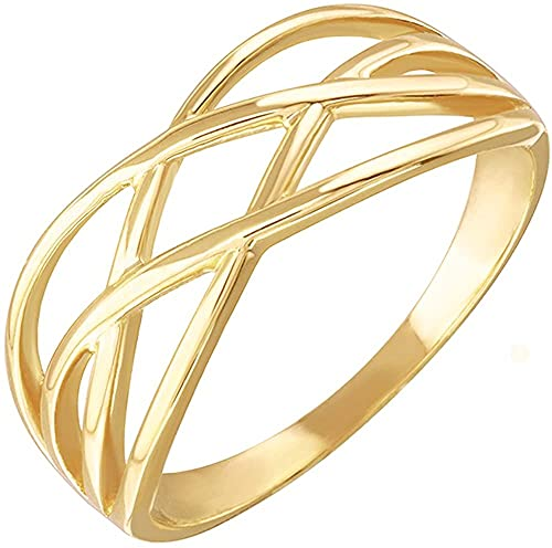 10k Yellow Gold Woven Celtic Knot Band Style Ring - Size 10