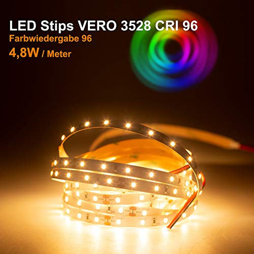 LED Streifen VERO Mextronic LED Streifen LED Band LED Strip VERO Warmweiß (2700K) CRI 96 24W 5 Meter 24V IP20