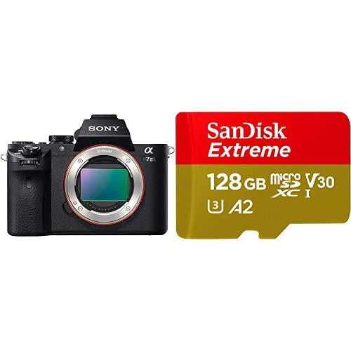 Sony Alpha 7 II - Cámara Evil de fotograma Completo + SanDisk Extreme - Tarjeta de Memoria microSDXC de 128GB con Adaptador SD, A2, hasta 160MB/s, Class 10, U3 y V30