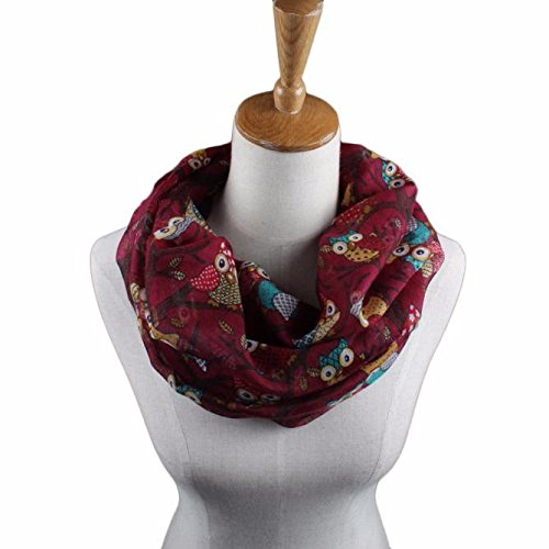 jieGorge Women Ladies Owl Pattern Print Scarf Warm Wrap Shawl RD, Scarf, Clothing Shoes & Accessories (Red)