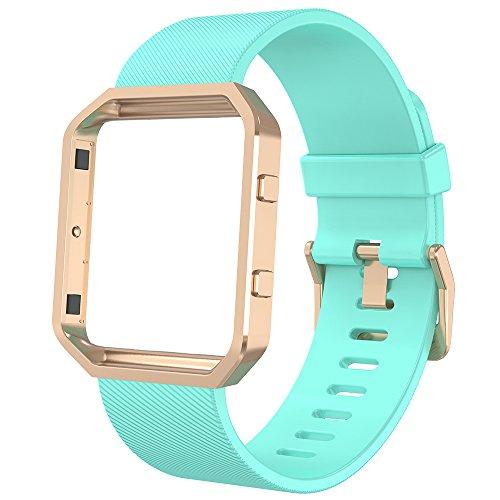 Anjoo Kompatibel für Fit bit Blaze Armband mit Metallrahmen, Verstellbares Ersatz Soft Silikon Uhrenarmband fur Fit bit Blaze Smartwatch [Gras-Grün,S]