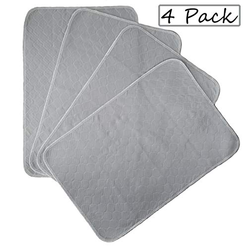 Kluein Pet Training Pads for Dogs Non-Slip Absorbent Washable Pee Pads for Dogs Cat Rabbit Guinea Pig Small Pets, Travel Carrier, Dog Crate Mat, Food Mat (4-Pack M 24x36in, Grey) Pads Training Trays