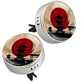 2 medaglioni per diffusore di oli essenziali giapponesi per auto, aromaterapia, con clip di sfiato, 4 ricariche (argento)