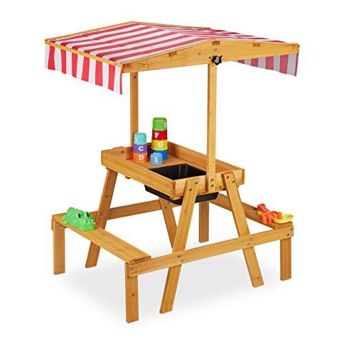 Relaxdays Kindersitzgruppe Grupo de Asientos para niños, Banco con Mesa de Juegos, protección Solar, Exterior, Cocina de Barro de Madera, 110 x 65 x 83 cm, Natural, Naturaleza