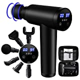 Massage Gun Deep Tissue Percussion Muscle Hand Massager for Athletes Back Pain Relief and Recovery with 20 Adjustable Speeds and 6 Heads Portable Body for Office Gym Home