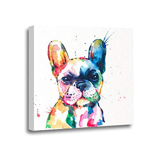 Ansouyi 12x12 Inches Canvas Wall Art Painting Frenchie French Bulldog Original Watercolor of Dog Funny Happy Home Decorative Artwork Prints