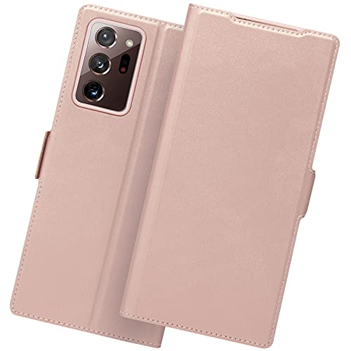 Hülle Samsung Note 20 Ultra, Handyhülle Note 20 Ultra, Samsung Galaxy Note 20 Ultra Klapphülle, Note 20 Ultra Hülle, Tasche Note 20 Ultra Schutzhülle, Leder Etui Folio/Flip Phone Cover Hülle.Rosegold