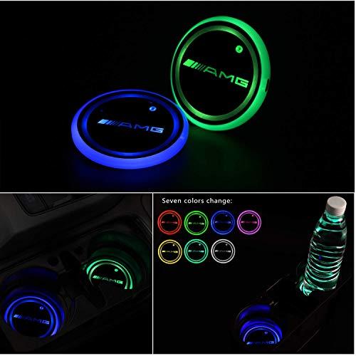 Gabriel Versión mejorada de la luz del portavasos LED, posavasos, 7 colores, carga USB, 2 piezas (adecuado para A-M-G)
