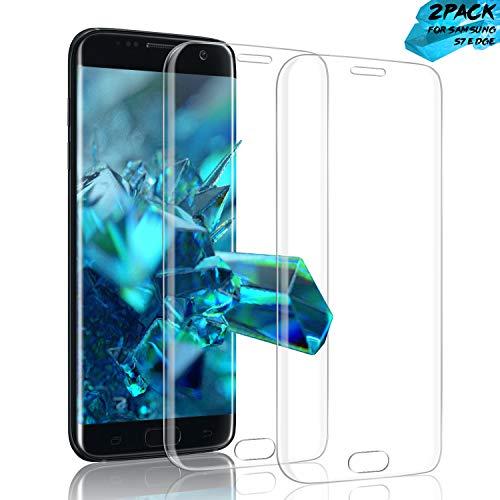 Aonsen Galaxy S7 Edge Vetro Temperato, [2 Pack] Galaxy S7 Edge Copertura Completa Pellicola Protettiva,[9H Durezza Resistente], HD Screen, Anti-riflesso, Trasparenza ad Alta Definizione - Trasparente