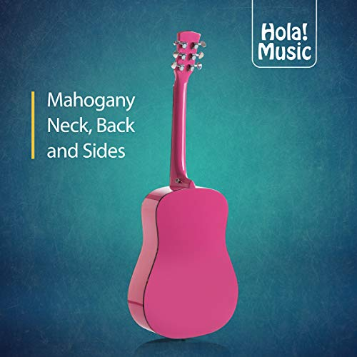 3/4 Size (36 Inch) Acoustic Guitar Bundle Junior/Travel Series by Hola! Music with EXP16 Steel Strings, Padded Gig Bag, Guitar Strap and Picks, Model HG-36PK, Glossy Pink