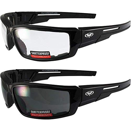 Global Vision Lot of 2 Motorcycle Padded Glasses Sunglasses Clear and Smoke ATV Quad Moped Small
