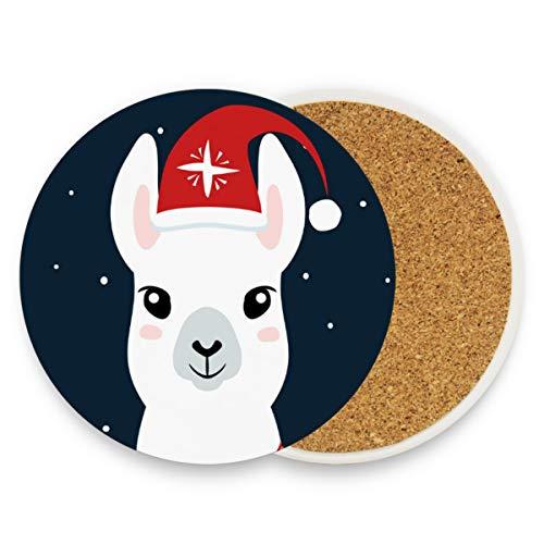 Posavasos de cerámica para bebidas absorbentes – Happy Christmas Llama Cork Vino Posavasos Set de 2 tazas de posavasos regalos boda escritorio decoraciones