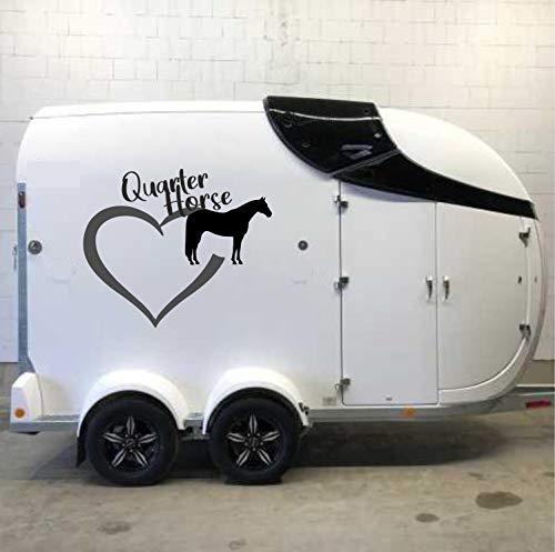 Pegatina Promotion Herz mit Pferde Silhouette (1Stück) Typ1 ca 80cm & Schriftzug Quarter Horse 2farbig reiten Reitsport Aufkleber Sticker Profi Qualität