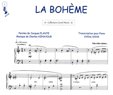 Partition : La Bohème - Piano et Paroles - Feuillet