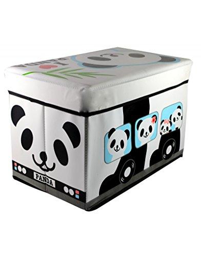 Home Line zitzak voor kinderen, opvouwbaar, voor het opbergen van speelgoed, wit en zwart motief Panda beer 48 x 31 x 31 cm
