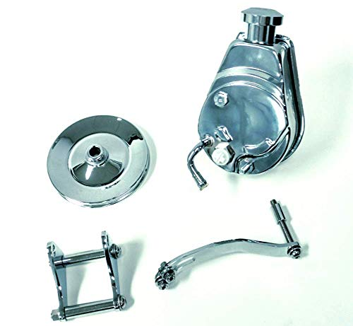 Sbc Chevy Chrome Saginaw Style Power Steering Pump W/Bracket & Chrome Pulley