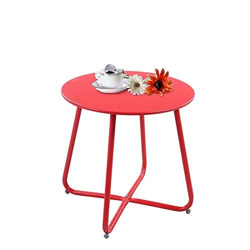 Juciyuan Hierro pequeña Mesa de café Mesa de café Sala de Estar Dormitorio Simple Bandeja Redonda Lado Mesa roja