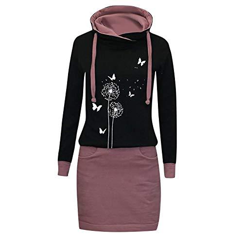 Xmiral Kapuzen-Kleid Farbblock Langarm Damen Lange Sweatshirt Beiläufig Fake Zwei Pullover Kleider(a-Lila,XXL)