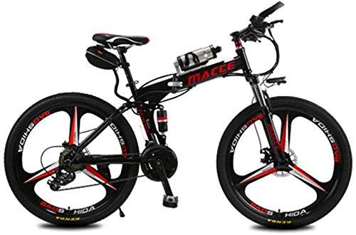 Bicicleta, Bicicletas eléctricas para Adultos, Bicicleta de aleación de magnesio, Bicicletas Todo Terreno, 26'250W 12Ah Batería de Iones de Litio extraíble de Litio para Hombre (Color: Rojo)