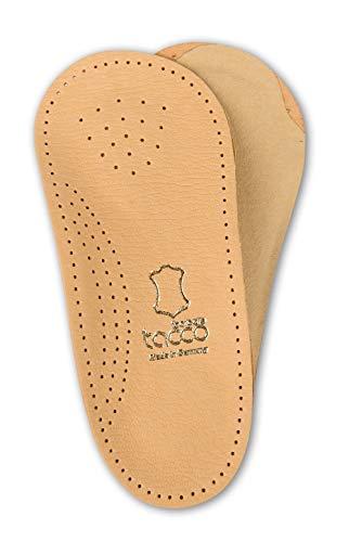 Orthopädische-Schuheinlagen 3/4 Tacco Nova | Pflanzlich gegerbtes Schaf-Leder | Fußbett mit Spreizfuß-Pelotte, Mittelfußstütze und Fersenpolster | Hergestellt in Deutschland (35 EUR)
