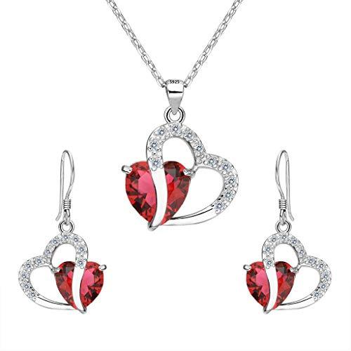 Clearine Women's 925 Sterling Silver Wedding Bridal Cubic Zirconia Love Heart Pendant Necklace Hook Earrings Set Ruby Color