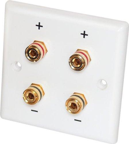 2 Stück - Dynavox Lautsprecher-Wand-Anschlußblende, weiß / 4x Bananen-Kupplung