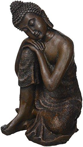 Zen' Light Thinker Estatua Buda tailandés, Resina, 13 x 12 x 20 cm, Bronce