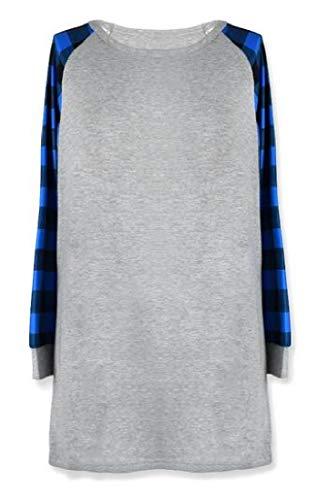 SHOWNO Women's T-Shirt Plaid Loose Fit Comfy Plus Size Mid Length Long Sleeve Blouse Top Blue L