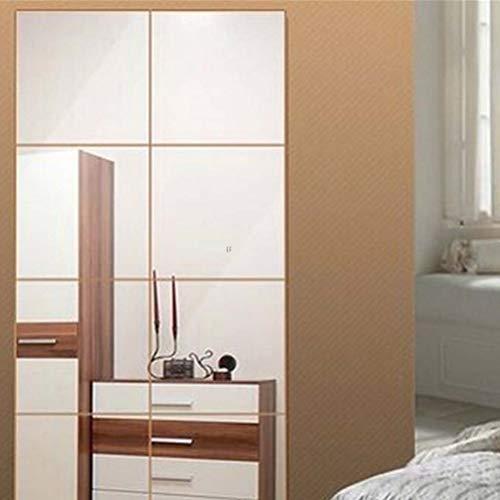 PMSMT 16 unids/Set Nuevo 3D Cuadrado Espejo azulejo Pegatinas de Pared calcomanía Mosaico Papel de Pared Dormitorio baño decoración DIY para Sala de Estar Porche