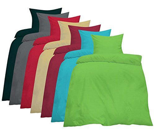 Home-Impression 2-TLG. Uni Seersucker Microfaser Bettwäsche Einfarbig 135x200 cm +80x80cm mit Reissverschluß und Bügelfrei Sommer Sommerbettwäsche BEIGE