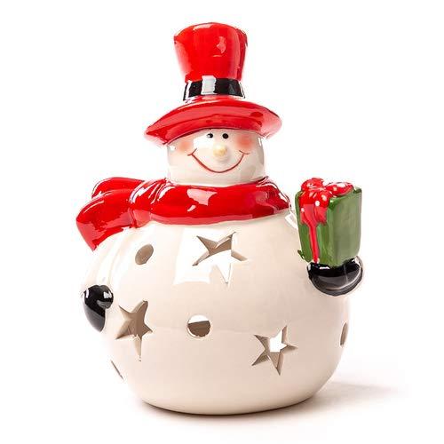 Teelichthalter Schneemann mit Geschenk, Windlicht, Weihnachtsdekoration, H 15cm