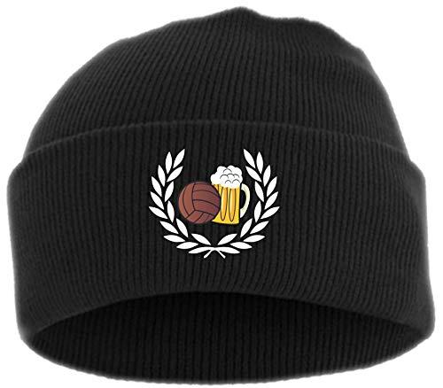 HB_Druck Lorbeerkranz Fussball Bier Umschlagmütze - Bestickt - Einheitsgröße Schwarz