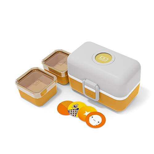monbento - MB Tresor Moutarde lunch box enfant jaune / gris - boite bento repas ou goûter 3 compartiments - sans BPA - durable et sûre