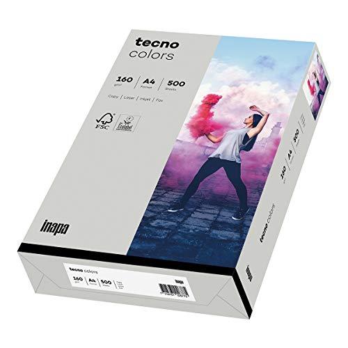 inapa farbiges Druckerpapier, buntes Papier tecno Colors: 160 g/m², A4, 250 Blatt, grau, 2100011364_R