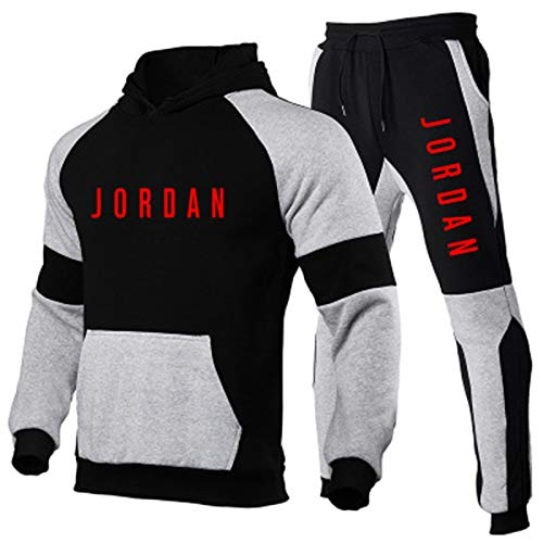 NOTREPP 2020 Chandal Hombre Completo, Jordan Chandal Hombre Y Pantalon Chandal Hombre, Empalme De Tres Colores Moda Fitness Jogging Ropa Deportiva (s-3xl) red2-L
