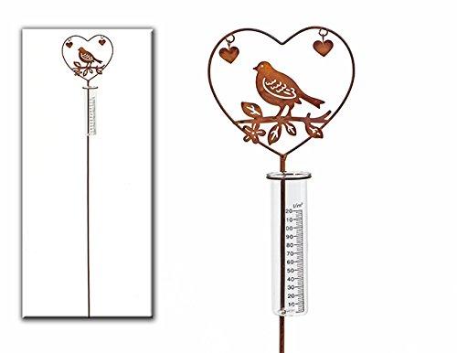Geschenk-Himmel Gartenstecker Regenmesser Vogel im Herz und Zwei kleine Herzen