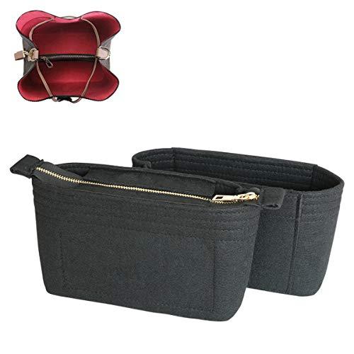 SHINGONE Taschenorganizer Filz Handtaschen Organizer mit Reißverschluss, Innentaschen für Handtaschen Bag Organizer für Damen, Taschenorganizer Schwarz