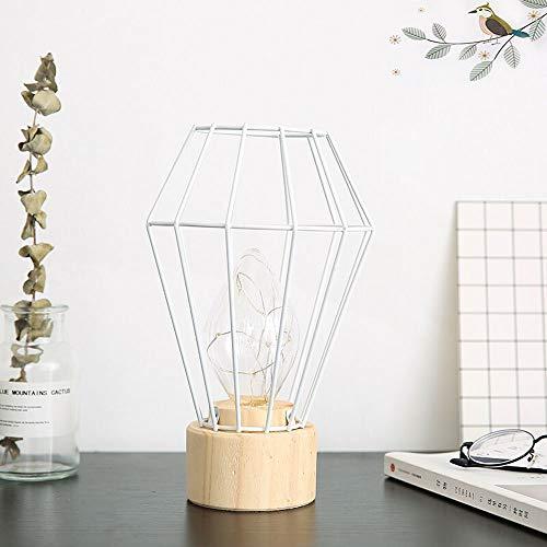 XIAO FAN * Nordic Minimalist Smeedijzeren nachtkastje Tafel Licht Houten Lamp Base Creatieve Nacht Licht Persoonlijkheid Home Accessoires Mode Bureaulamp (Kleur : Wit)
