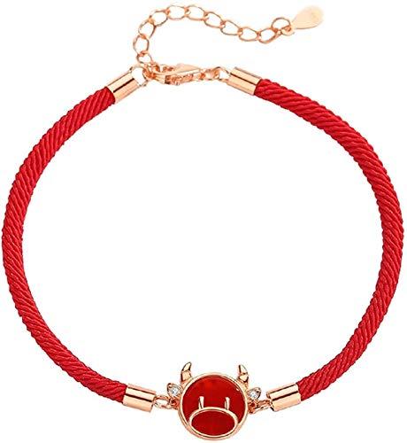 Friend Charm Bracelet, Feng Shui Wealth Bracelet para Mujer 925 Sterling Silver Bull Red Agate Red Rope Bracelet Pulsera del Zodiaco para la Buena Fortuna Brazalete Valiente de la suert