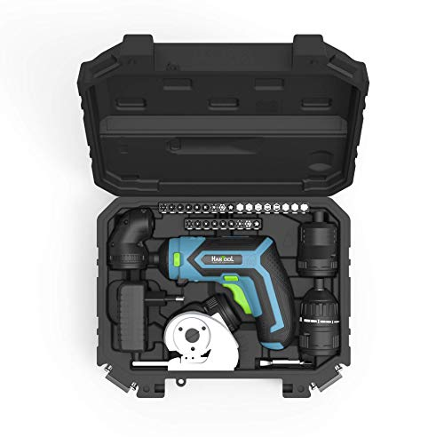 HARTOOL Professional Akkuschrauber mit Drehmomentaufsatz Schneidaufsatz Winkelaufsatz Exzenteraufsatz und umfangreichem Zubehör Bitset 4 Drehrichtungen LED Transportkoffer