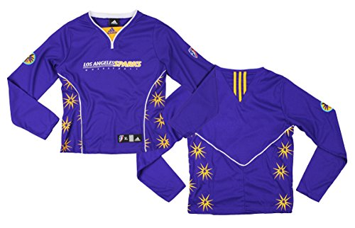 adidas Los Angeles Sparks WNBA Big Girls Long Sleeve Shooting Shirt - Purple (Medium (10/12))
