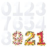 无品牌 9 plantillas de números de 12 pulgadas, 0 a 8 números, planas, de plástico, con forma de números, para tartas, galletas, accesorios de horneado, bodas, fiestas de cumpleaños