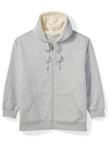 Amazon Essentials Men's Big and Tall Sherpa Lined Full-Zip Hooded Fleece Sweatshirt fit by DXL, Light Gray Heather, 6X