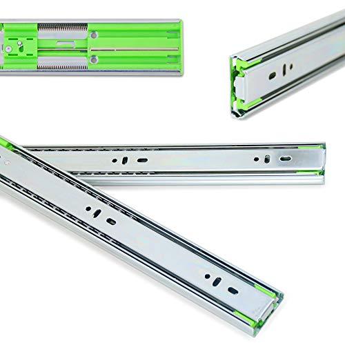 1 Paar (2 Stück)   LANZZAS® Schubladenschienen 450 mm, Vollauszüge, Teleskop-Schienen kugelgelagert, mit SoftClosing und Selbsteinzug