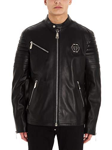 Philipp Plein Luxury Fashion Herren MLB1153PLE010N02 Schwarz Leder Jacke | Frühling Sommer 20