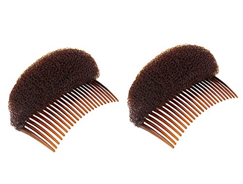 2PCS Women Lady Girls Soft Sponge Foam Hair Base Inserts Bump Up Hair Pads Stick Bun Maker Hair Styling Clip Hair Comb Braid Tool Hair Styling Accessories Brown