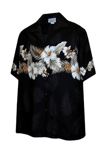 Pacific Legend Hawaiian Shirt for Men - Black w/ Floral Stripe, Medium