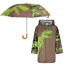 3. ABG Accessories Kids Dinosaur Umbrella and Raincoat Set